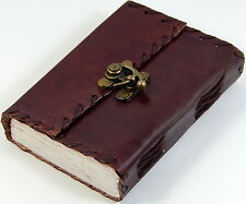 "4"" x 5"" Pocket Leather Journal Sketchbook Lace Edges, Brass Latch 190 Pages"