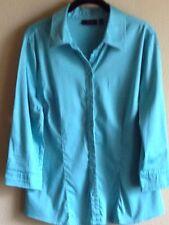 Apt.9 Large Blouse Shirt Top Career Womens Collar Button Down Teal-Aqua EUC