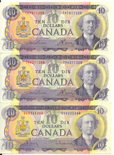 Bank of Canada 1971 $10 Ten Dollars Lot of 3 Notes EF/AU Lawson- Bouey Sir John