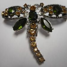 WOW beautiful DRAGONFLY pin / brooch   SILVER tone WOW GREEN AND GOLD CRYSTAL