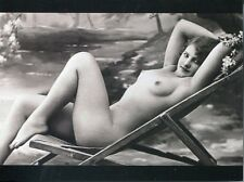POST CARD OF A VINTAGE PIN UP GIRL NUDE SUN BATHER IN FRANCE