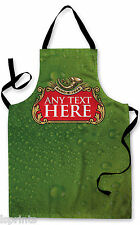 PERSONALISED BEER LABEL GREEN BOTTLE DESIGN APRON KITCHEN BBQ COOKING PAINTING