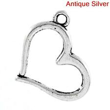 Antique Silver Hollow Heart Charm Pendant - 1 PIECE