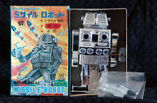 TPS JAPAN WIND UP MISSILE ROBOT WITH ROCKETS OLD STOCK MIB WITH INSERTS