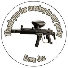 Personalised Paintball Gun Army 37mm Stickers Party Thank You Seals - ref 150