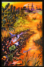 GNOME FISHING MARIJUANA FANTASY BLACKLIGHT POSTER (91x61cm) MIKE DUBOIS NEW