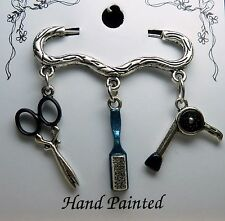 Hand Painted Hair Stylist Hairdresser Scissor Brush Dryer Charm Brooch Pin Blue