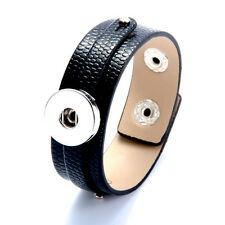 2016 1pcs Punk Leather Bangle Bracelets for Noosa Snaps Charm Button black