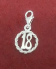 Sterling Silver 18 Clip on Charm Number 18th birthday Solid 925 clipon Pendant