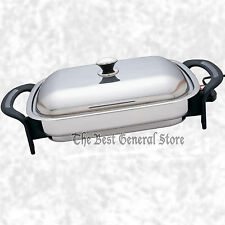 """LARGE  16"""" Surgical Stainless Steel Electric Skillet Frying Fry Pan Rectangular"""