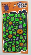 Funny GLOW IN THE DARK Pumpkins Ghost Candy Halloween Sticker Sheet Kawaii Bats