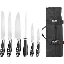 Slitzer 7pc Kitchen Chef Knife Cutlery Set Ergonomic Handle Carry Travel Case