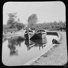 Glass Magic Lantern Slide TOM THE BOATER NO29 C1890 CANAL BARGE LOCK VICTORIAN