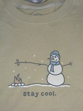 "NWT! RARE!  LIFE IS GOOD MEN L/S CRUSHER TEE HANDSOME SNOWMAN "" KEEP COOL"".(L)"
