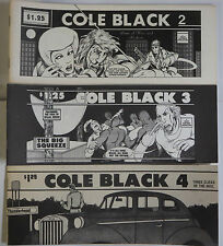 Cole Black #2-4 Signed by Rocky Hartberg (1980) Hardboiled Detective Spoofs