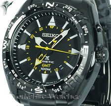New SEIKO KINETIC GMT BLACK FACE Dual Time ION STAINLESS STEEL BRACELET SUN047P1