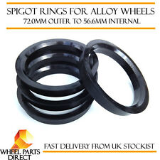 Spigot Rings (4) 72mm to 56.6mm Spacers Hub for Fiat Punto Evo 08-12