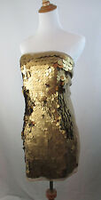 *NEW W TAG* GOLD BRONZE BROWN ASOS BLACK WOMENS LARGE SEQUIN STRAPLESS DRESS 6