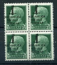 ITALY 1944 REPUBBLICA SOCIALE VARIETY Shifted Overprint MNH BLOCK x4 Euro 80