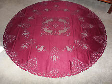 New Burgundy Battenberg lace design Tablecloth  70 round