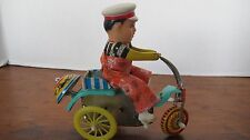 VINTAGE TIN TOY CLOCKWORK MAN ON BIKE TRICYCLE CHINA C1970S