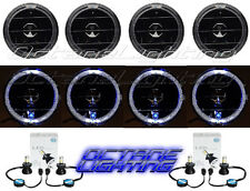 "5-3/4"" Black/Smoke White LED Halo Angel Eye Headlight H4 Light Bulb Headlamp Set"
