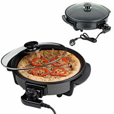 40CM ELECTRIC PIZZA PAN COOKER GLASS LID COOK PAELLA MULTI FRYER NON STICK PLATE