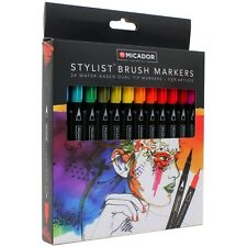 Micador Artists Stylist Water Based Dual Tip Brush Markers - Set24