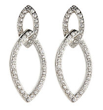 CLIP ON EARRINGS - silver drop earring with clear crystals - Cade