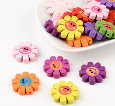 20pcs Mixed Dyed Lead Free Printed Wood Sunflower Wooden Beads Kids Craft 23x4mm