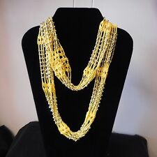 NEW Infinity-style YELLOW Neck Wrap/Scarf with Silver Bead Embellishments
