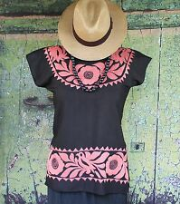 Hand Embroidered Salmon & Black Huipil / Blouse, Jalapa Mexico Hippie Cowgirl