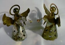 Set of 2 Vintage Angel Christmas Ornament Figurine Silver and Gold Metal