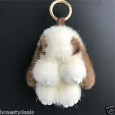 11cm Coffee/White Real Mink fur Rabbit Bunny Bag Charm Key Chain Phone Pendant