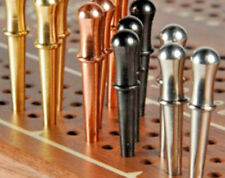 """Metal Cribbage Pegs 12-Classic 3/32"""" 3-Brass, 3-Copper, 3-St.Steel, 3-Black US."""