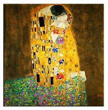 Gustav Klimt-Der Kuss-Bild Leinwand-Kunstdruck Große 100x100x3cm,G94250
