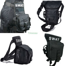 Black Cross Over Police SWAT Drop Leg Utility Waist Pouch Carrier Belt Bag Pack