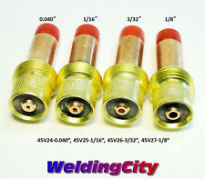 "4-pk Gas Lens Collet Body 45V24 45V25 45V26 45V27 (040""-1/8"") TIG Torch 17/18/26"