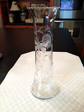 VASE AMERICAN BRILLIANT Large ANTIQUE CRYSTAL CUT GLASS Butterfly Flower 10-1/4""