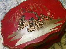 Chinese vintage antique painted red wooden jewellery box