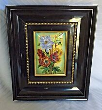 Antique Limoges Artist Signed Raised Enamel Copper Floral Flowers Framed Picture