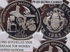 Seychelles 1985 50 Rupees~NGC PR-69 UC~U.N. Decade For Women~Rare 500 Minted~F/S