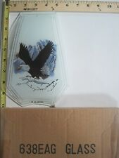 FREE US SHIP OK Touch Lamp Replacement Glass Panel Eagle Snowy Mountain 638-EAG
