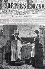 Black Americana 1878 CHRISTMAS MINCED PIES Negro Cook in Kitchen Matted Print