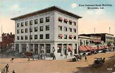 Cal., Riverside, first National Bank Building, carriages, auto, cars 1915