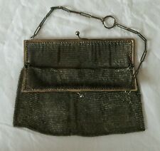 Antique Vintage 1920 Silver Finish Metal Mesh Coin Purse / Bag