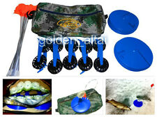 Equipped 10 pcs Ice Fishing Zherlitsy Tip-Up+GIFT: Carrying Bag.Take  and Catch