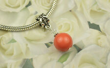 Coral Crystal Pearl Dangle Charm Bead European Style w Swarovski Elements