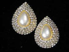 WEDDING BRIDAL GOLD CHAMPAGNE PEARL W. CLEAR RHINESTONE CRYSTAL CLIP EARRINGS