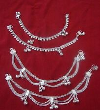 Child lot 4 silver bells anklet bracelet foot jewelry Belly Dance India gift  7""
